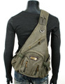 Men's Military-style Single-shoulder Crossbody Canvas Backpack