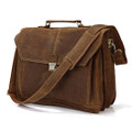 """Madrid"" Men's Full Grain Leather Large Rugged Laptop Briefcase"