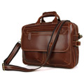 """Copenhagen"" Men's Polished Leather Laptop Briefcase - Red Brown"