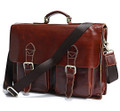 """Chicago"" Polished Top Grain Leather Men's  Briefcase & Laptop Bag"