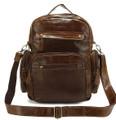 """Prague"" Soft Vintage Leather Compact Backpack & Crossbody Bookbag"