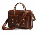 """Maracaibo"" Men's Polished Leather Briefcase & Tote Crossbody Bag"