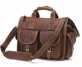 """Corpus Christi"" Men's Full Grain Leather Messenger Bag & Briefcase"