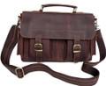 """Rochester"" Men's Vintage Leather Compact Messenger Bag - Brown"