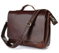 """Brandy Wine"" Men's Smooth Vintage Leather Laptop Briefcase - Dark Brown Red"