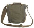 Virginland Vintage Canvas Vertical Messenger Bag - Army Green