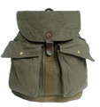 Virginland Vintage Canvas & Leather Military Style Rucksack - Army Green