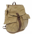 Virginland Vintage Canvas & Leather Military Style Rucksack - Khaki Tan
