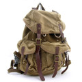 Virginland Vintage Canvas, Leather & Steal Rugged Day Backpack - Khaki Tan