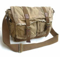 "Virginland ""Wanderer"" Distressed Heavy Canvas Messenger Bag - Khaki Tan"