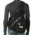 Men's Rugged Military-style Single-shoulder Crossbody Canvas Backpack - Black
