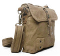 "Virginland ""T-Shirt & Jeans"" Compact Canvas Messenger Bag - Army Green"