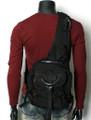 Men's Compact Single-shoulder Crossbody Canvas Backpack - Black