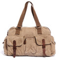 "Virginland ""Weekender 2"" Large Vintage Canvas Duffel Bag - Tan"