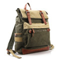 Linshi Tasks Men's Multicolored Canvas Backpack with Leather Straps