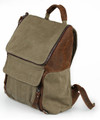 "Linshi Tasks ""Beacons"" Men's Canvas Schoolboy Backpack with Leather Straps - Army Green"