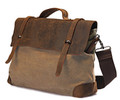 Linshi Tasks Men's Trendy Canvas Satchel with Leather Straps - Khaki Tan