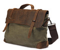 "Linshi Tasks ""Redondo"" Men's Trendy Canvas Satchel with Leather Straps - Military Green"