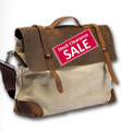 "Linshi Tasks ""Redondo"" Men's Trendy Canvas Satchel with Leather Straps - Natural White"
