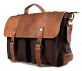 """Linshi Tasks """"Torrance"""" Men's Trendy Canvas Satchel with Leather Flap - Coffee Brown"""