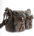 Linshi Tasks Men's Trendy Cotton Satchel with Leather Straps - Grey Green