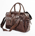 """Belmont"" Soft Vintage Leather Overnight Duffel Bag - Brown"