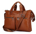 """Mykonos"" Men's Vintage Leather Triple Portfolio Messenger Bag"