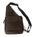 """Cardiff 2"" Men's Full Grain Leather Single Shoulder Sling - Dark Brown"