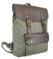 "Linshi Tasks ""Ponto"" Men's Trendy Canvas Backpack with Leather Flap & Straps - Khaki Green"