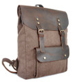 "Linshi Tasks ""Ponto"" Men's Canvas Backpack with Leather Flap & Straps - Coffee Brown"
