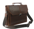 """Bird Rock"" Men's Full Grain Leather Messenger Laptop Bag  - Dark Brown"