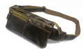 """Coronado"" Men's Vintage Distressed Leather Waist Pack & Chest Sling"