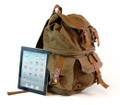"""California"" Canvas Laptop Backpack with Split Upper & Lower Storage - Army Green"