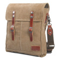 """Cowboy Satchel"" Canvas & Crossbody Bag with Leather Straps - Khaki Tan"