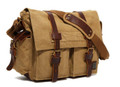 "Men's Trendy ""Colonial"" Italian Style Messenger Bag with Leather Straps - Olive Brown"