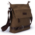 "Muze ""Lombard Street"" Men's Compact Canvas Leiser Bag - Tan Brown"