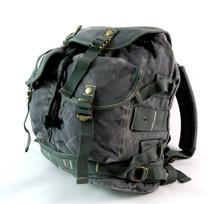 Men's Trendy Military Style Canvas Backpack - Gunmetal Grey ...