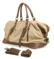 "Virginland ""San Simeon"" Vintage Canvas Duffel Bag with Leather Straps - Desert Tan"