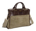 "Ducti ""Cavalier"" Soft Suede Laptop Attache Messenger Bag - Green and Brown"