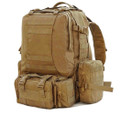 Men's Large Military Style Modular Tactical Backpack & Daypack - Khaki Tan