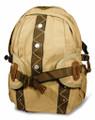 "Amik ""Harbor City"" Designer Vintage Canvas School Backpack - Khaki Tan"