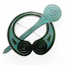 GREEN ENAMEL TARA BROOCH