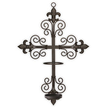 Trinity Wall Sconce WITH SAFETY RING TO HOLD FLAME OR FLAMELESS LED SAINT CANDLE SECURELY ON THE WALL.