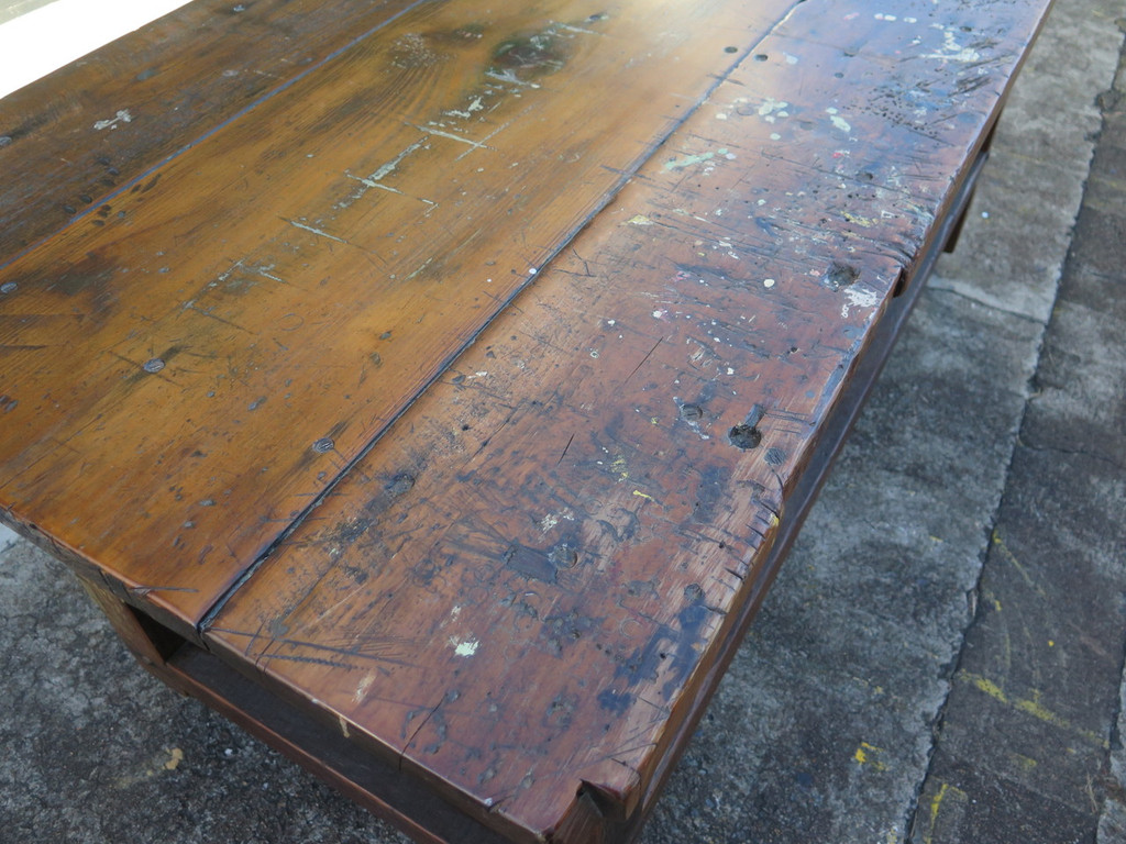 INDUSTRIAL SOLID TIMBER WORK SHOP TABLE WITH DRAWS - 188CM X 75CM X 87.5CM