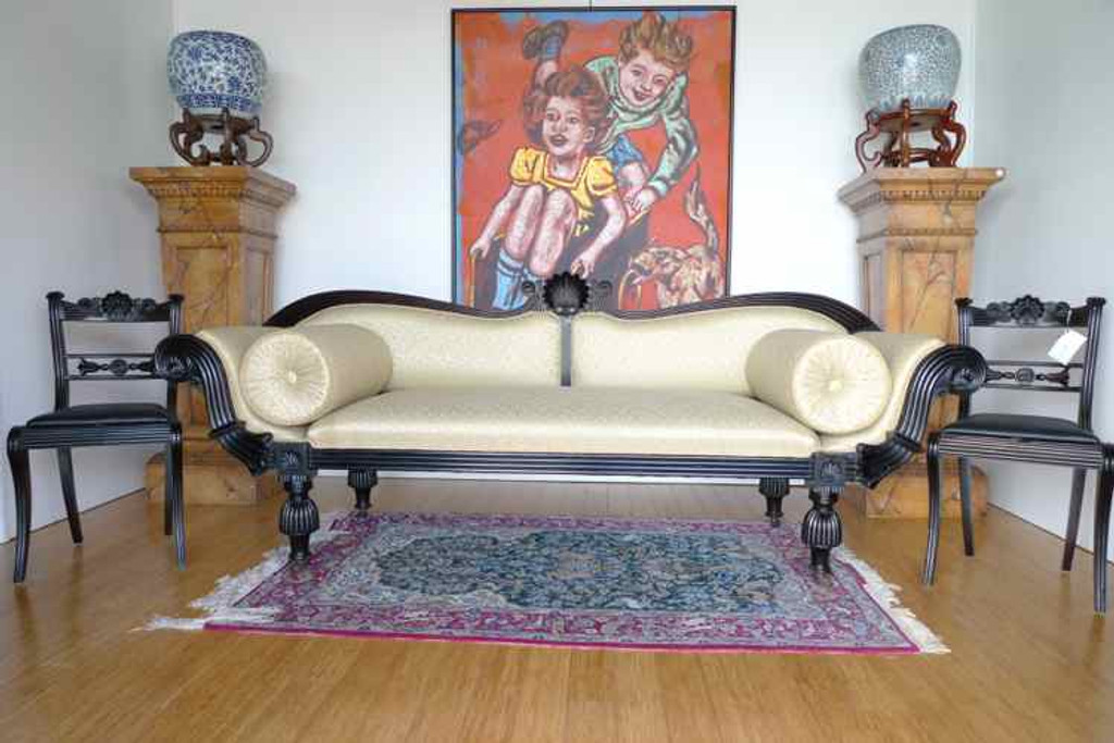 Harrington & Co. A FINE ANGLO INDIAN SOLID EBONY COUCH C.1835