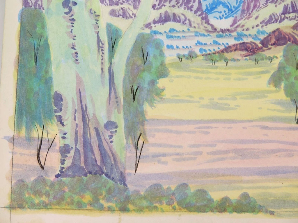 CONLEY EBATARINJA (1959-2013) SIGNED HERMANNSBURG WATERCOLOUR ON BOARD.