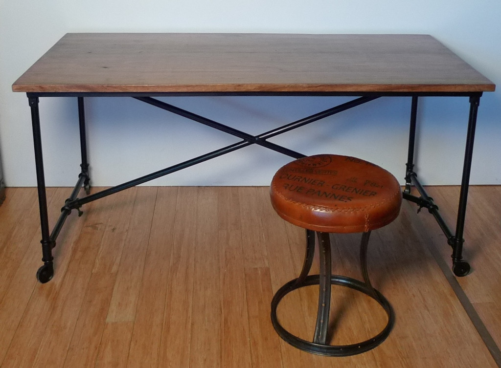 INDUSTRIAL METAL BASE & SOLID TIMBER TOP TABLE / DESK - 160CM X 80CM X 76CM