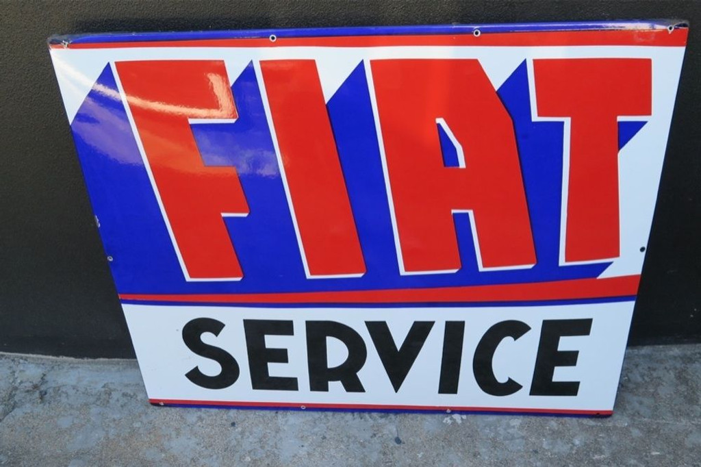 SCARCE c1950's / 60'S AMERICAN FIAT SERVICE GARAGE / DEALERS PORCELAIN  SIGN.