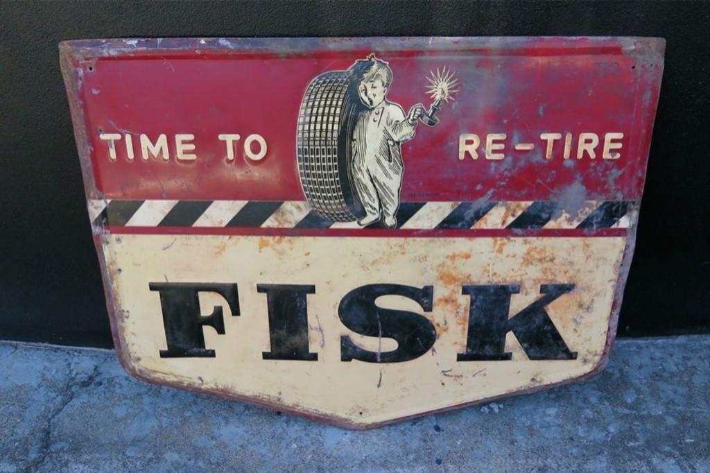RARE / LARGE 1946 AMERICAN FISK TIRES GARAGE / DEALERS EMBOSSED SIGN.
