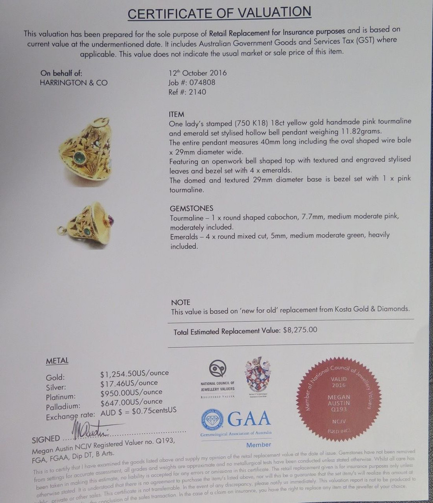 HANDMADE LARGE 18K GOLD EMERALD & TOURMALINE BELL PENDANT VAL $8275